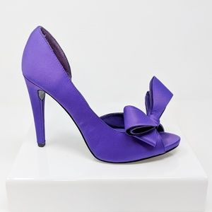 MICHAEL SHANNON Lolita purple satin peep toe heels